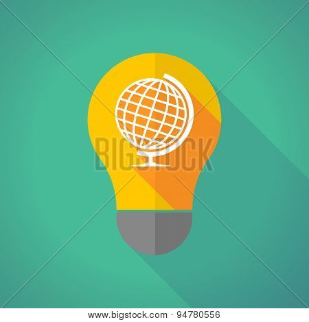 Long Shadow Light Bulb With A World Globe