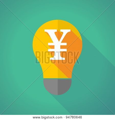 Long Shadow Light Bulb With A Yen Sign