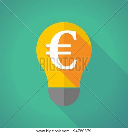 Long Shadow Light Bulb With An Euro Sign