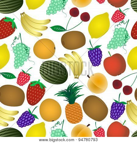 Colorful Various Fruit Summer Seamless Pattern Eps10