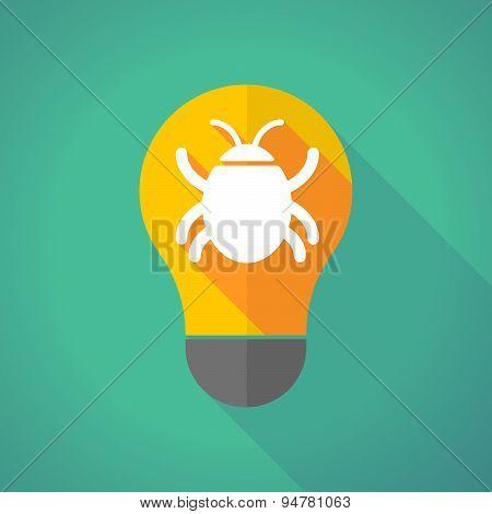 Long Shadow Light Bulb With A Bug