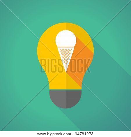 Long Shadow Light Bulb With A Cone Ice Cream