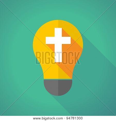 Long Shadow Light Bulb With A Christian Cross