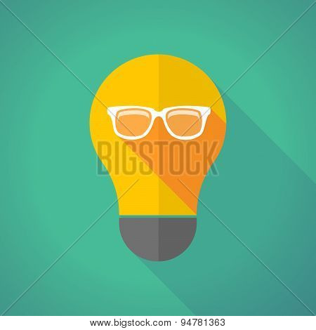Long Shadow Light Bulb With A Glasses