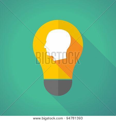Long Shadow Light Bulb With A Male Head