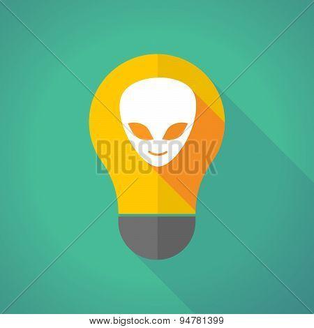 Long Shadow Light Bulb With An Alien Face