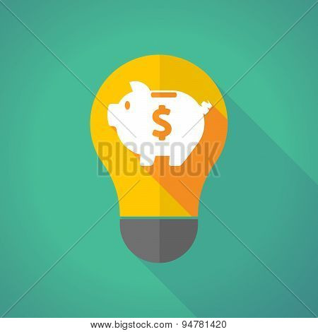 Long Shadow Light Bulb With A Piggy Bank