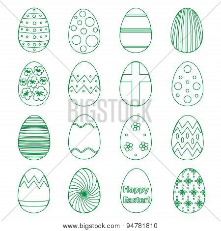 Various Outline Easter Eggs Design Collection Eps10