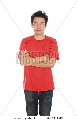 Man With Arms Crossed, Wearing T-shirt