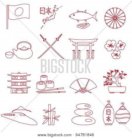 Simple Japan Theme Outline Icons Set Eps10
