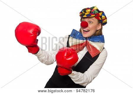 Pretty female clown with box gloves isolated on white