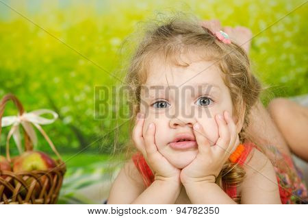 Funny Three Year Old Girl On A Picnic
