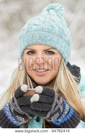 Young Beautiful Smiling Woman With Mug Outdoor.