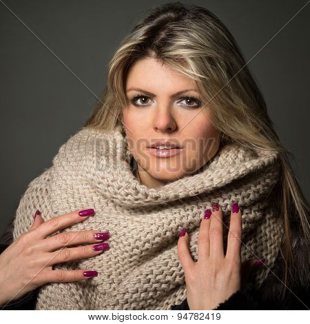 Portrait Of Young Beautiful Woman Wears Scarf