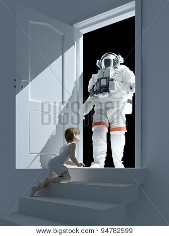 Boy and astronaut near the open door.