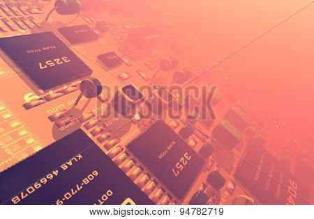 Electrical Power chips on the board.