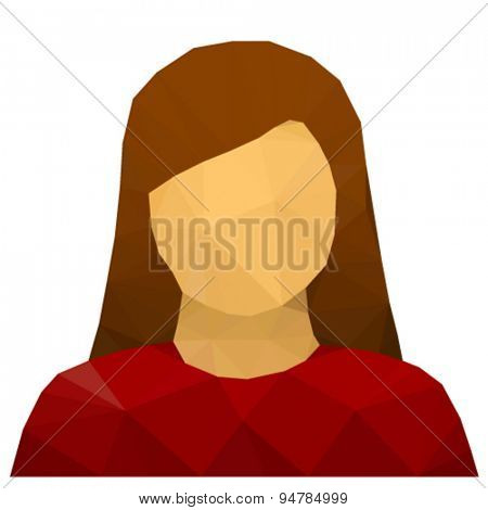 vector triangular female user avatar icon
