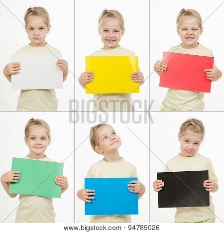 Collage Of Six Portraits Emotional Girl With Colored Cards