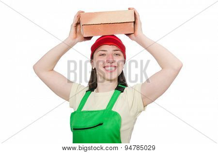 Woman with brick isolated on white