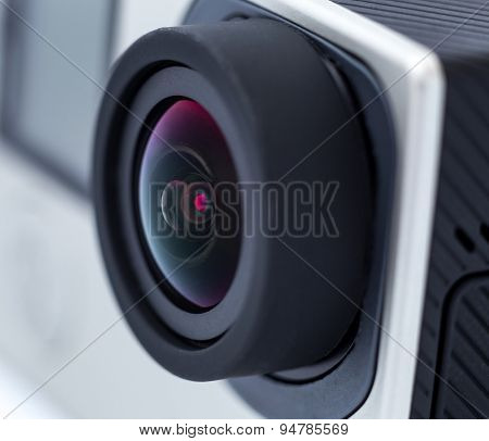 Action camera lens. Close up photo