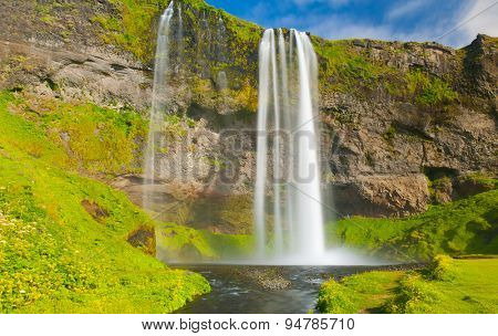Seljalandsfoss is one of the most beautiful waterfalls on the Iceland. It is located on the South of the island.