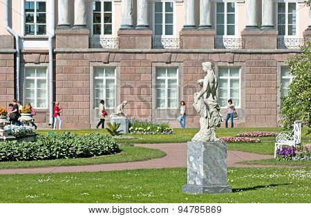 Tsarskoye Selo (Pushkin), Saint-Petersburg, Russia. The Private Garden with The Zephyr Sculpture
