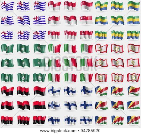 Ajarua,  Singapore, Gabon, Macau, Italy, Sikkim, Upa, Finland, Seychelles. Big Set Of 81 Flags. Vect
