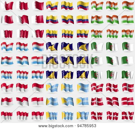 Bahrain, Colombia, Niger, Luxembourg, Tokelau, Algeria, Monaco, Tuva, Military Order Malta. Big Set