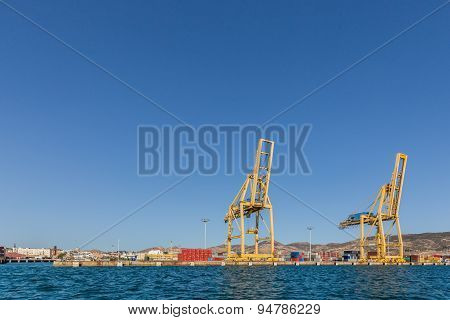 Seaport with cranes and containers