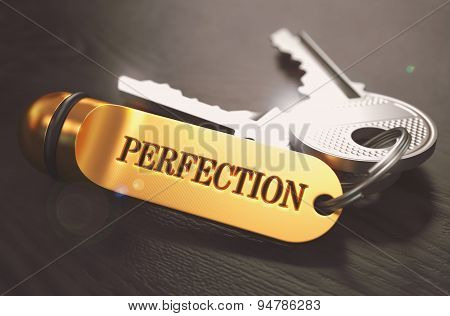 Perfection Concept. Keys with Golden Keyring.