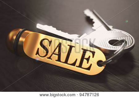 Sale - Bunch of Keys with Text on Golden Keychain.