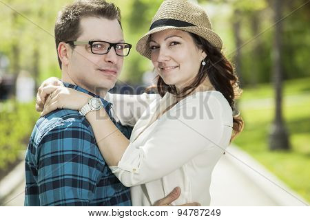 Young couple in the old part of town