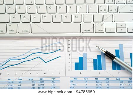 Keyboard on financial reports