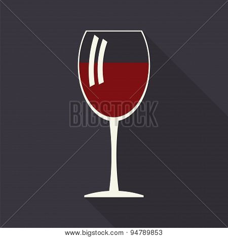 Wine Glass Icon With Long Shadows