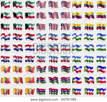 Kuwait, Liberia, Colombia, Croatia, Mari El, Bashkortostan, Bhutan, Gambia, Khakassia. Big Set Of 81
