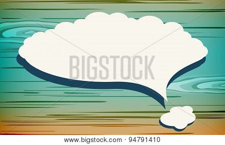 White vector speech bubble with shadow like cloud on colorful wooden wall. Vector Illustration