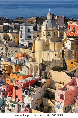 Italy. Gulf Of Naples. Procida Island. Colorful Houses Of Corricella