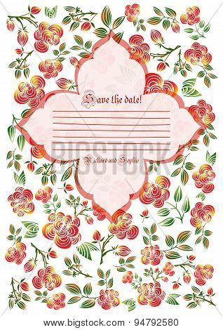 Cute Holiday Invitation Card With Rose Ornament Background