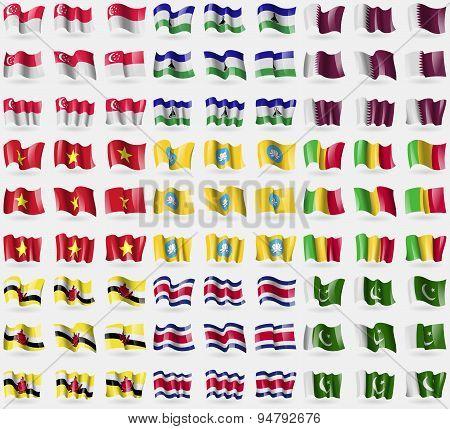 Singapore, Lesothe, Qatar, Vietnam, Kamykia, Mali, Brunei, Costa Rica, Pakistan. Big Set Of 81 Flags