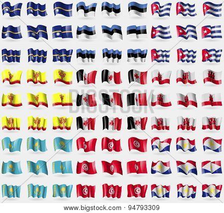 Nauru, Estonia, Cuba, Chuvashia, Udmurtia, Gibraltar, Kazakhstan, Tunisia, Saba. Big Set Of 81 Flags