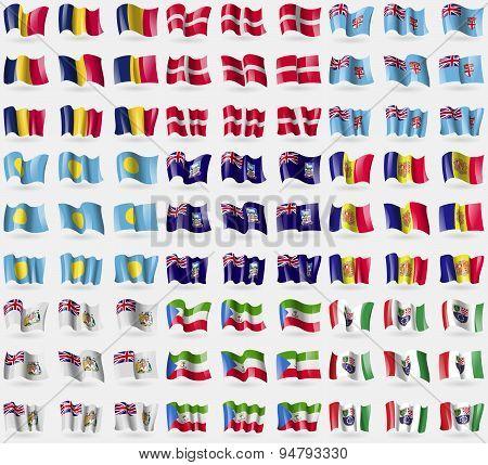 Chad, Military Order Malta, Fiji, Palau, Falkland Islands, Andorra, British Antarctic Territory, Equ
