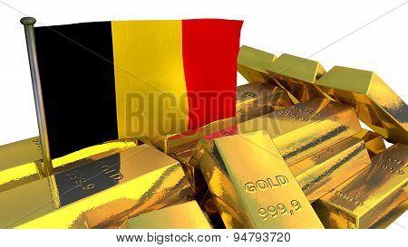 Belgian national economy concept with gold bullion