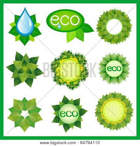 Set Of Decorative Elements For Eco Design Isolated