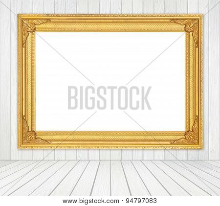 Blank Frame In Room With White Wood Wall And Wood Floor Background