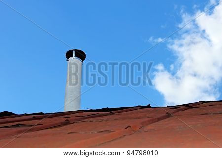 Chimney Pipe Over The Old Tinny Roof