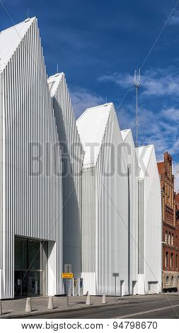 Facade of  The Szczecin Philharmonic Hall