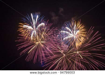 Red and gold fireworks display