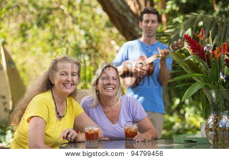Happy Friends With Ukelele Player