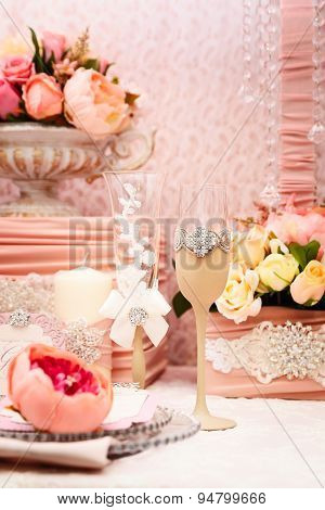 Wedding table. Close-up of wine glasses
