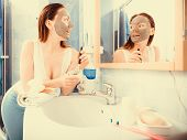 stock photo of mud  - Beauty skin care cosmetics and health concept - JPG